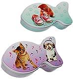 Unbekannt Aufbewahrungsdose / Box mit Deckel -  Katze & Fisch  - aus Metall - Vorratsdose / Utensilo / Keksdose - oder auch für Katzenfutter / Tierfutter - Aufbewahru..