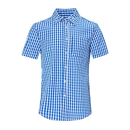 RAISEVERN White Blue Kariertes Hemd Herren Summer Chemise Homme Checkered Short Sleeve