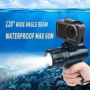 Dkings 1000LM Diving Flashlight Underwater 60M (197ft) LED-Licht für DJI Osmo Action für GoPro Hero 7 6 5, für Xiaomi mija für 4 k Sjcam Action Video Camera Zubehör Diving Flashlight Torch Light