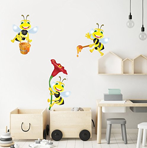 DecalMile Animales Abejas con Flores Pegatinas de Pared Vinilos Decorativos Habitación Infantiles Guardería Niños Bebés Dormitorios