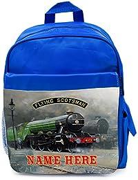 53896abbd3 Personalised School Bag FLYING SCOTSMAN STEAM TRAIN Boys Backpack Book Kids  Rucksack - Blue FST01