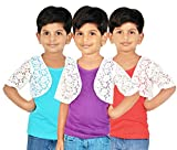 Gkidz Girls Combo Of 3 Graphic Cotton Vest And Shrug Pack of 3 (GIRLS-3PCK-VEST-CMB-3_ Multicolor)