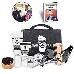 BarFex 10-teiliges Bartpflegeset für Männer - Mit Bart Schürze, Bart Schablone und Bartpflege Anleitung - Hochwertige Pflege Made in Germany