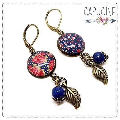 Boucles d'oreilles pendantes avec cabochon fleurs style anglais - boucles d'oreilles shabby chic - boucles d'oreilles dormeuses bronze - shabby chic n°1