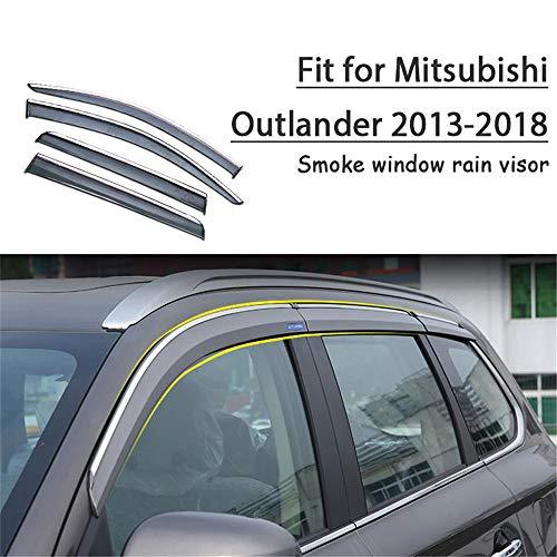 HCDSWSN Windabweiser,4 stücke Auto Rauch Fenster Sonne Regen Visier abweiser Schutz, für Mitsubishi Outlander 2013 2014 2015 2016 2017 2018 zubehör