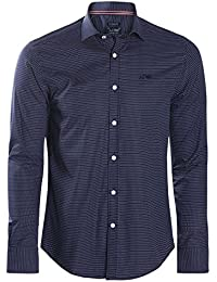Armani Jeans - Chemise custom fit imprimé pois bleu marine