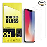 [2 Pack] Roadwi iPhone X Display Schutz gehärtetem Glas für Apple iPhone X / 10 [5,8 Zoll], [Kratzfest] Touch Accurate] [Impact Absorb] [Einfache Installation]