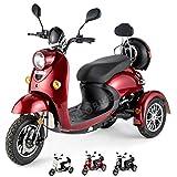 VELECO Scooter elettrico 3 ruote Disabili Anziani 25km/h 650W Retro ZT63 (Rosso)