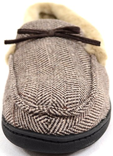 Pour Homme Motif à chevrons style mocassin Pantoufles avec doublure chaude en fourrure synthétique et poignets Marron - marron