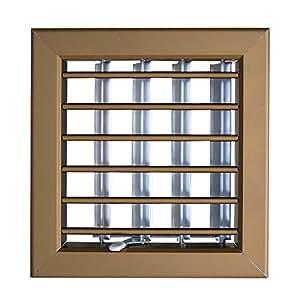 First Plast - Grille de ventilation métallique - Grille cheminée à encastrer 180x180mm - Bronze - Ailettes avec rideau