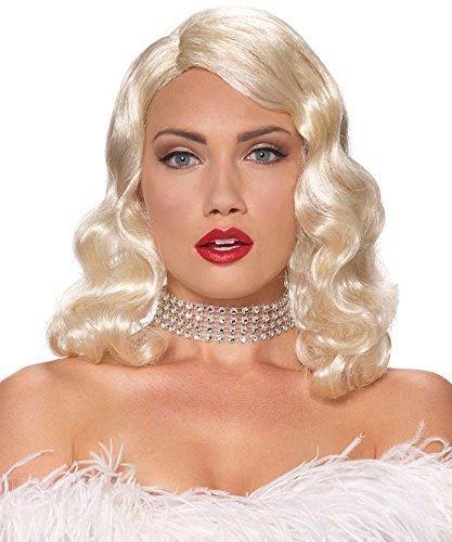 Reizvolle Damen 1950er Schulter Länge Blondes Kostüm Ausstattungs (Fatale Femme Perücke)