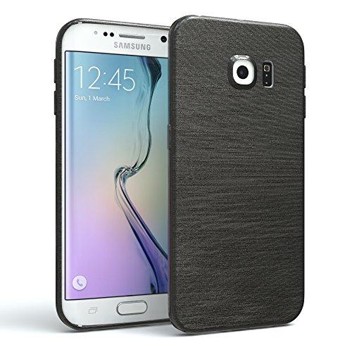 EAZY CASE Hülle für Samsung Galaxy S6 Edge Schutzhülle, gebürstet, Slimcover in Edelstahl Optik, Handyhülle, TPU Hülle/Soft Case, Backcover, Silikonhülle Brushed, Anthrazit