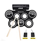 Roll Up Drum, Jeasun Portable Electronic Drum Silicon Foldable Drum Pad Kit for Kids Starters Support Drum Game with Drum Stick and Foot Pedals, Built in Speaker and Headphone Jack