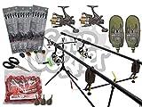NGT Komplettes Karpfen-Angel-Ausrüstungsset mit passenden Ruten, Spulen und Alarm