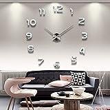 X-Rui DIY 3D Moderno reloj de pared Los grandes números arábigos Murales Pegatinas para Dormitorio Living House Hotel Restaurante Oficina-Plata