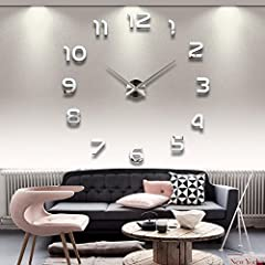 Idea Regalo - HapiLeap Moderno fai da te grande parete 3D orologio con I Numeri arabi Murales Adesivi per Casa Soggiorno Camera da Letto Hotel Ristorante Ufficio Argento
