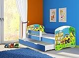Clamaro 'Fantasia Blau' 160 x 80 Kinderbett Set inkl. Matratze, Lattenrost und mit Bettkasten Schublade, mit verstellbarem Rausfallschutz und Kantenschutzleisten, Design: 20 Bagger