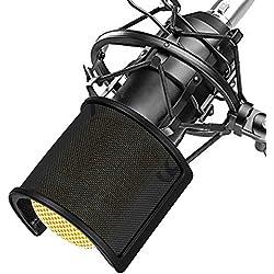 Microphone Filtre Anti Pop, TAIKUU Mic Filtre Micphone Ecran Anti Vent Avec Filtration Multicouche Et Fixation Stable Pour Studio D'enregistrement Et Meilleur Audio Qualité, Noir