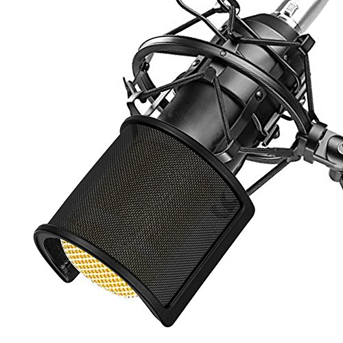 Filtro Micrófono Anti-pop, TAIKUU Parabrisa Pantallas antiviento con Capa de Espuma para Estudio de Grabación, Negro