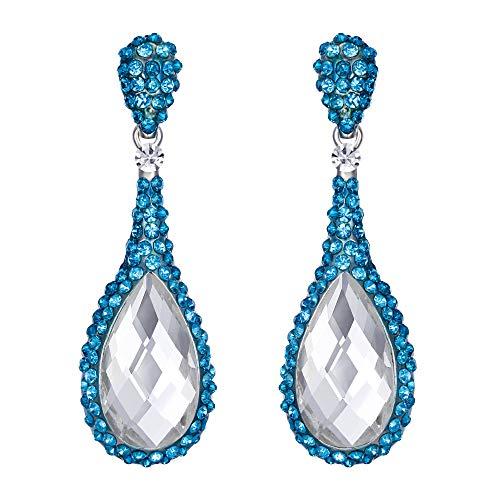 Flyonce Damen österreichische Kristall Hochzeit Braut 2 Teardrop durchbohrt Ohrringe blau Silber-Ton