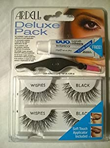 Ardell Deluxe Pack Fake Eyelash Kit Wispies Black Includes Glue and Applicator by Ardell