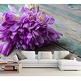 Lsfhb Krokus Blumensträuße Violet Flowers Wallpapersrestaurant Wohnzimmer Sofa Tv Wand Schlafzimmer Küche 3D Tapete-280X200Cm