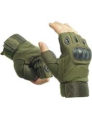 Al aire libre Airsoft caza ciclismo moto conducción táctica guantes Fingerless L ejército verde