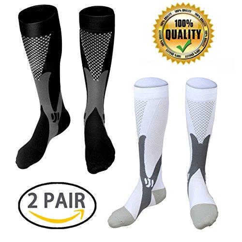 LJ deporte calcetines de compresión unisex Graduado de compresión 20–30mmHg Fit para corredores enfermeras viajeros maestros maternidad Fitness uso médico tablilla de vuelo de viaje, Hombre, Black+White