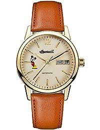 Reloj Automático Disney by Ingersoll Para Mujer Con  Blanco Roto Analogico Y Marrón Cuero ID01101