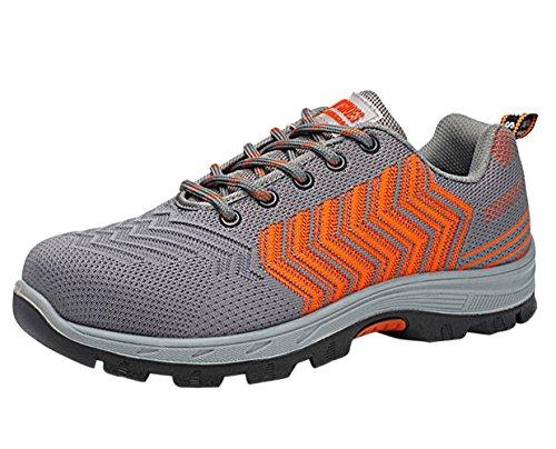 Estive Scarpe Uomo da Lavoro Antinfortunistiche Acciaio Sportive Scarpa Sneaker Ginnastica Trekking Arancione02 44 EU