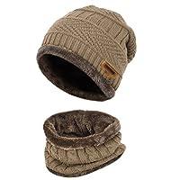 TMEOG 2 PCS Cute Boys Girls Winter Knitted Fleece Hemming Kids Beanies Hats + Circle Scarf Set 6-14 Years Old (Khaki)