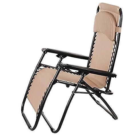Befied Chaise Lounge avec Traversin Lune Pliante Portable Chaise de