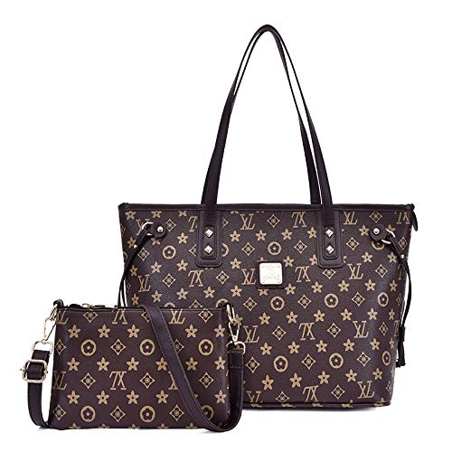 Ldyia Alte Blume Neue große Kapazität Mode einfach lässig Frauen Schulter diagonale Handtasche Zweiteilige Mutter Tasche, braune Umhängetasche