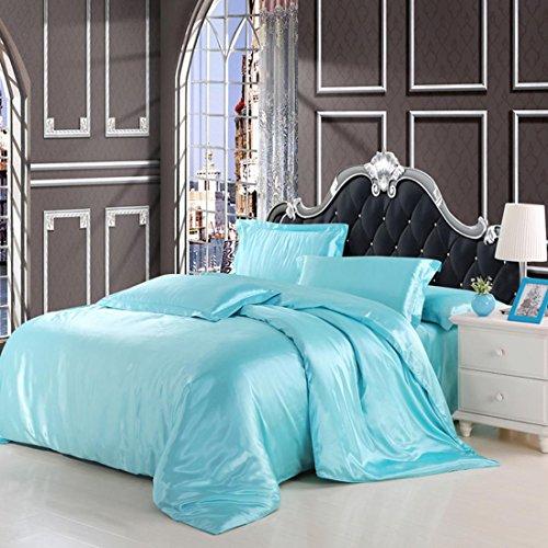 BEIZI einfarbig Seide Satin doppel Bettbezug Schlafzimmer königin könig bettbezug und 2 Kissenbezüge bettwäsche Set, Light Blue (Seiden-satin-bettwäsche König)