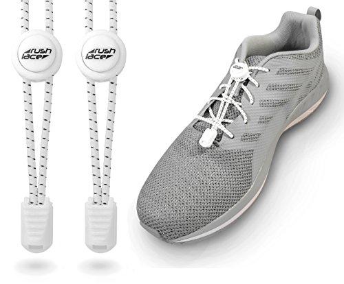 Preisvergleich Produktbild RUSH LACE - Elastische Schnürsenkel mit Schnellverschluss - Schnellschnürsystem für einen idealen Sitz und perfekten Halt - Nie wieder Schuhe binden! - (Weiß)