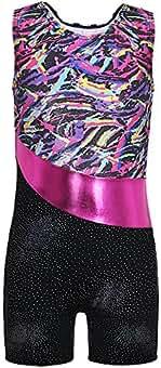 DAXIANG Fille Gymnastique Justaucorps sans Manches Danse Justaucorps pour  Pratique Costume(pour Filles 100cm- f789b04702a