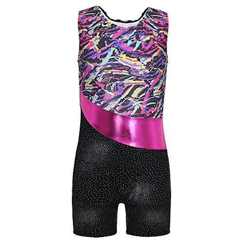 Enfant Fille Sans Manches Vêtements de Gymnastique Justaucorps (Multicolore Rubans, 150(10 11Ans))