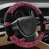 Hivel Winter Leopard Plusch Lenkradbezug Weich Warm Lenkradhulle Universal Anti Rutsch Lenkradschoner Fahrzeug Auto Lenkradabdeckung Vehicle Car Steering Wheel Cover 38cm - Rosa