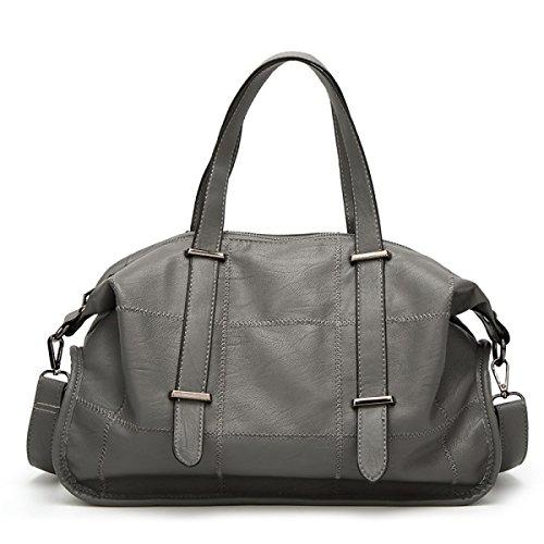Frauen PU-Leder Boston Bag Schulter Messenger Bag Mode Große Kapazität Handtaschen Gray