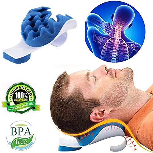QZY Kopf- Und Nacken Spannungs-Entlastungskissen, Massagekissen-Stützkissen Kopf- Und Nackenkissen Cervical Pillow Relaxer Traction Device Für Schmerzlinderung Spannung Blau