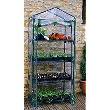 Invernadero para jardín 4 niveles, miniinvernadero de exteriores con cubierta de PVC