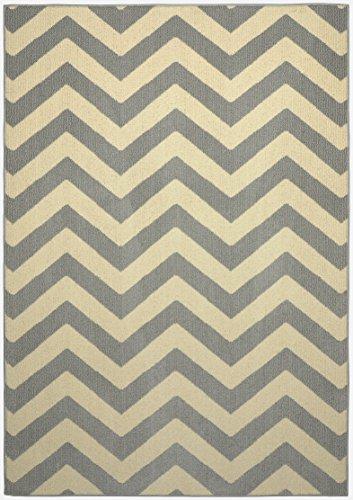 Girlande Teppich Chevron Bereich Teppich, Polypropylen, Silver/Ivory, 5 by 7-Inch (Garland Chevron)