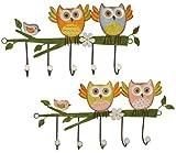Unbekannt 1 Stück: Garderobenhaken Eulen aus Metall - Wandhaken Kindergarderobe mit 5 Kleiderhaken Kind Wandgarderobe - für Innen und Außen - Bunte Eule Vögel Tiere