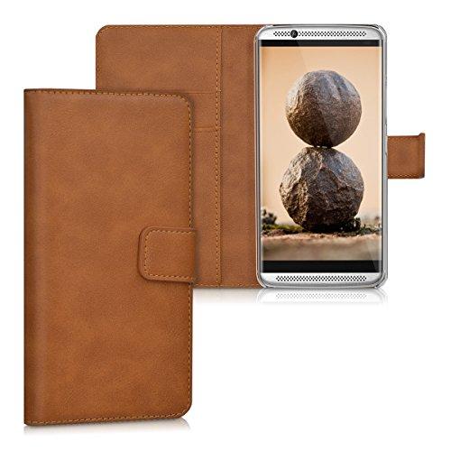 kwmobile Wallet Case Hülle für ZTE Axon 7 - Cover Flip Tasche mit Kartenfach und Ständerfunktion in Cognac