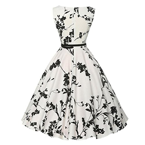 Mitlfuny Damen Vintage Floral Bodycon Ärmel Casual Abend Party Prom Swing Kleid Rockabilly Kleid Partykleider Cocktailkleider (s, Weiß)