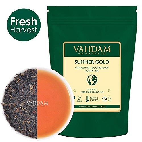 VAHDAM, Summer Gold Darjeeling Second Flush (50 tazze) | Foglia allungata e robusta DARJEELING TEA | Foglia sciolta al 100% PURO NON TAGLIATA | Brew come tè caldo, tè freddo o latte 100gr