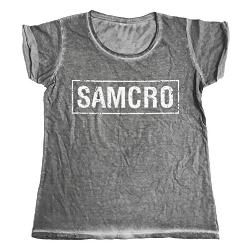 Offizielles Lizenzprodukt Sons Of Anarchy - SAMCRO Distressed Urban Schmale Passform Damen T-Shirt (Grau), X-Large -
