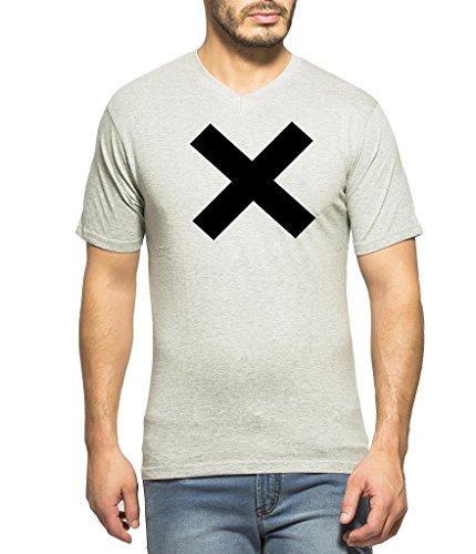 Clifton Mens Printed Half Sleeve V-Neck T-Shirt-Grey Melange-BLACK X-XL