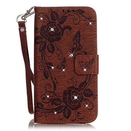 Per iphone 7 plus, custodia a portafoglio in pelle rigata con motivo fiori in rilievo con cinturino a mano per iphone 7 plus honggxd ( color : brown , size : iphone 7 plus )