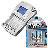 ANSMANN PhotoCam IV Akku-Ladegerät für Micro AAA/Mignon AA Akkus Steckerladegerät mit LCD-Anzeige + 4x AAA Akkus 1100mAh
